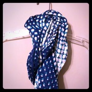Blue and white long scarf